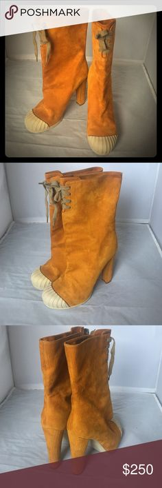 Fendi Suede Leather Boots Fits 8 Authentic Fendi Made in Italy boots. European size marked is 39.5- it fits an US 8. Worn once - too high for me :). Fendi Shoes Ankle Boots & Booties