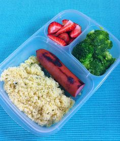 Parmesan Couscous, Grilled Turkey Kielbasa, Broccoli, Strawberries, packed in #EasyLunchboxes