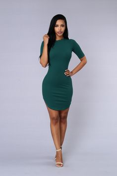 - Available in Black, Green, and Mustard - Half Sleeve - Ribbed - T-Shirt Dress - Rounded Hem - 100% Cotton