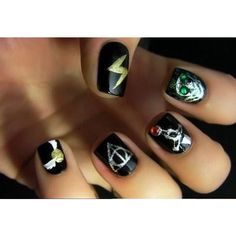 Creative Harry Potter Inspired Nail Art [10 Pics] ❤ liked on Polyvore featuring nails, harry potter, makeup, nail polish and uñas