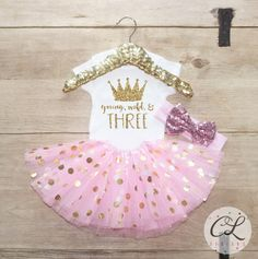 Third Birthday Shirt Outfit / Baby Girl Clothes Young Wild Three 3 Year Old Tutu Outfit Three Birthday Set 3rd Birthday Princess Crown 069 by CourtneyLeighPrints on Etsy https://www.etsy.com/listing/468661662/third-birthday-shirt-outfit-baby-girl