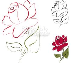 Rose Line Art Royalty Free Stock Vector Art Illustration