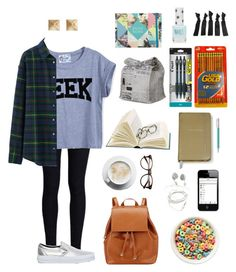 """School Outfit #5"" by anadoribeljimenez ❤ liked on Polyvore featuring Rodarte, Uniqlo, Vans, Barneys New York, SO, Faber-Castell, Kate Spade, Pilot, Topshop and school"