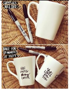 How cute is this? An oven safe mug & a sharpie! The rest is up to you!