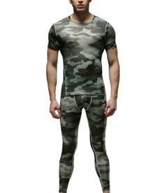 1Bests Men's 2 Pieces Camouflage Fitness Compression Sportswear Basketball Running Training Tights Speed Drying Coat Set * You can get additional details at the image link.