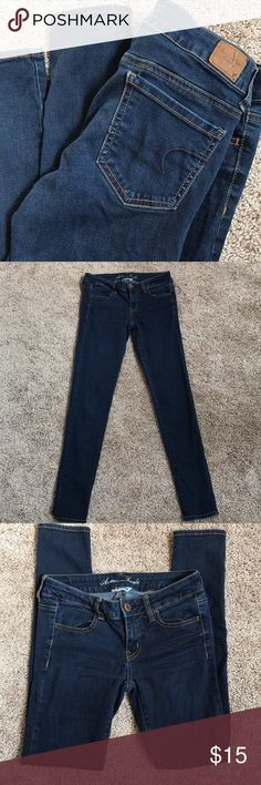 American Eagle Jeggings American Eagle super stretch Jeggings size 4 Length 29. Great preloved condition. 72% cotton, 14% polyester, 1% rayon and 1% spandex. Semi dark wash. American Eagle Outfitters Jeans