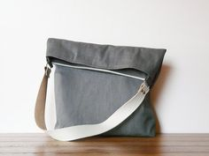 Grey Canvas Tote bag Leather strap plus zipper clutch by SKmodell
