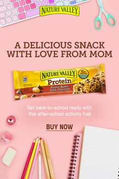 Get ready for back-to-school and fill their lunch boxes with Nature Valley Peanut Butter Dark Chocolate Protein Bars. Get on-demand energy that satisfies with creamy peanut butter, whole grain oats and 10g of protein.