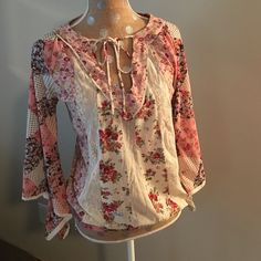 Gorgeous boho mesh striped top Never worn, absolutely beautiful mesh vertical stripes on front and back, slit bell sleeves tie neckline and elastic at waist. would fit S or M. Looks fabulous with denim!! Express Tops Blouses