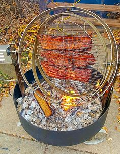 This is a spherical spinning grill.Gyro/TriRo three rings spin making sure the meat cooks thoroughly. Made from 316 food grade stainless steel. 2 sizes with models soon for commercial food trucks,and resturaunts. www.FirePit911.com YouTube:  click or cut and paste. https://youtu.be/-ifGh42FLLQ