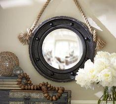 Mirrors - Porthole Mirror | Pottery Barn -round rope hung mirror, port hole mirror,
