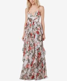 Fame and Partners Printed Ruffle Maxi Gown | macys.com