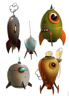 Remembering my childhood with fond memories of space, space ships, robots, and all things science fiction. Prop Design, Game Design, Design Ideas, Character Concept, Concept Art, 3d Character, Retro Rocket, Arte Robot, Game Props