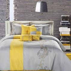 Trying to decide on new bedroom colors.....maybe grey and yellow ...