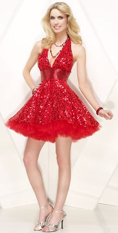 Red Cocktail Dress With Halter Neck