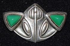Jugendstil Secessionist Chrysoprase and Silver Brooch by Max Joseph Gradl for Theodor Fahrner, Germany
