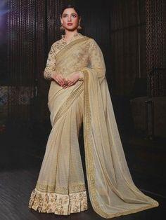 Cream Silk Saree With Resham Embroidery Work