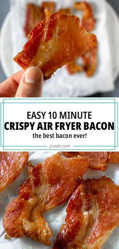 Crispy Air Fryer Bacon - The Best Bacon Ever! Air Fryer Recipes Keto, Air Frier Recipes, Air Fryer Dinner Recipes, Recipes Dinner, Breakfast Recipes, Cooking Bacon, Cooking Recipes, Healthy Recipes, Cooking Tips