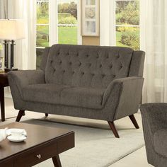 Furniture Of America Regaldo Mid Century Modern Grey Chenille Loveseat