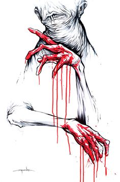'Right Handed' by Alex Pardee  Emphasis: Red stands out on the neutral COLORs of black and white