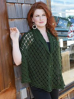 This beautiful crocheted wrap features a reversible stitch pattern, picot edging, and strategically placed buttons, which allow it to be worn in a multitude of ways – as an off the shoulder poncho,...