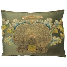Green Silk Applique Bolster Pillow   From a unique collection of antique and modern pillows and throws at https://www.1stdibs.com/furniture/more-furniture-collectibles/pillows-throws/