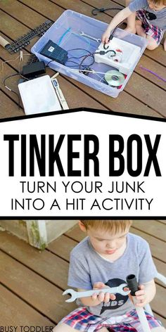 Tinker Box Inventor's Kit: Turn your junk into a hit activity; fine motor skills; STEM for toddlers and preschoolers