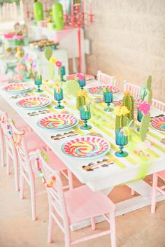 Guest tablescape from a Cactus & Candy Summer Soiree on Kara's Party Ideas | KarasPartyIdeas.com