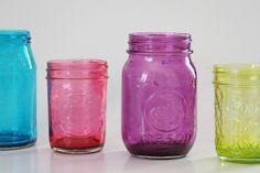 DIY Craft: Bright, Colorful Mason Jars with Mod Podge (tutorial) momspark.net