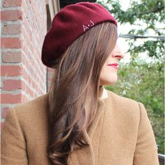 Monogrammed Beret - Merlot by Rosa Gold is a must have for Fall!