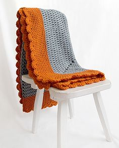 Kid knits: Free knitting patterns for babies - Crochet blanket.  I really like these modern colors together.  So fun with the scalloped edge.