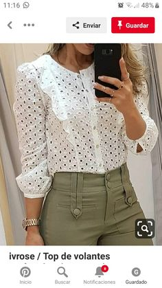 casual outfits for women Winter Fashion Outfits, Casual Outfits, Fashion Dresses, Bluse Outfit, Fashion Design Sketches, Blouse And Skirt, White Fashion, Lace Tops, Pattern Fashion