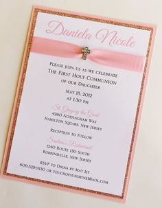 Girl Pink Baptism-Communion Invitation with by atouchofsunshine4