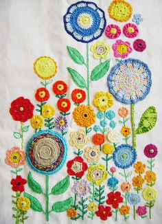 Crocheted flowers with embroidery