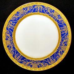 Antique French Limoges Porcelain Gold Encrusted Raised Gilt Enamel Blue Dinner Plates Set