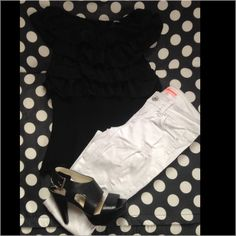 Black ruffle top Ruffled on top & fitted through the waist Forever 21 Tops Tank Tops