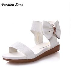Fashion Zone Women Genuine Leather Sandals Sweet Bow School Students Girl Shoes Black White Zipper Flat  Sandals For Women