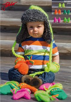 Colorful Russian hat with matching gloves.