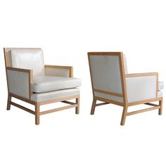 Stylish Pair of French Mid-Century Oak Club Chairs with Ivory Leather Upholstery