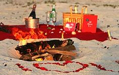 Romantic beach picnic / bonfire