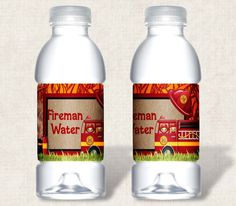 Fireman Water Bottle Labels Birthday Party
