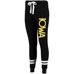ollege Iowa Hawkeyes Women's Game Day Striped Thermal Jogger Pants - Black