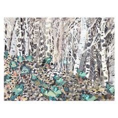 Winter Woods and Wild Turkeys print by Michelle Morin