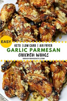 Crispy Garlic Parmesan Chicken Wings Recipe (Air Fryer & Oven) A quick recipe for Air Fryer Garlic Parmesan Wings (Keto Friendly). Includes instructions for making them in an air fryer. Perfect as an appetizer or as part of a chicken dinner. Chicken Wing Sauces, Parmesan Chicken Wings, Crispy Chicken Wings, Chicken Wing Recipes, Air Fryer Chicken Wings, Low Carb Chicken Wings, Asian Chicken Wings, Air Fryer Wings, Oven Chicken