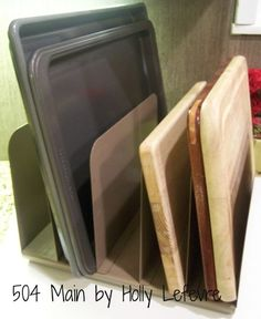 easy storage solution for the kitchen, cleaning tips, kitchen design, storage ideas, See how nicely the cutting boards baking sheets and racks store in this no sliding around or flopping over