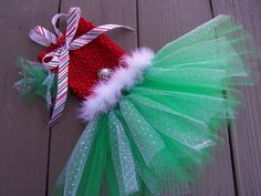Dog TuTu Christmas feather Dress Hair bow included by Frillypaws, $32.00