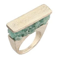 Burcu Okut  Material: 925 Sterling Silver  Amazonite Stone filled  Textured