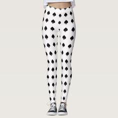 #white - #black spade pattern on white leggings