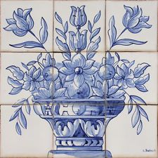 Portuguese Traditional Clay Azulejo Tiles Panel Mural DELFT BLUE VASE OF FLOWERS