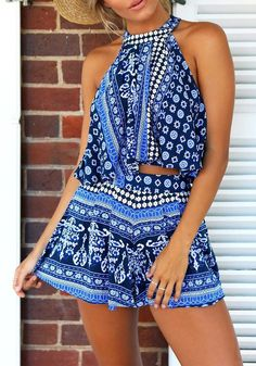Matching pairs are indeed a life saver. Make your life easier as you say goodbye to messy mornings with this tribal print blue co-ord set. Shop here. #lookbookstore #FashionClothing